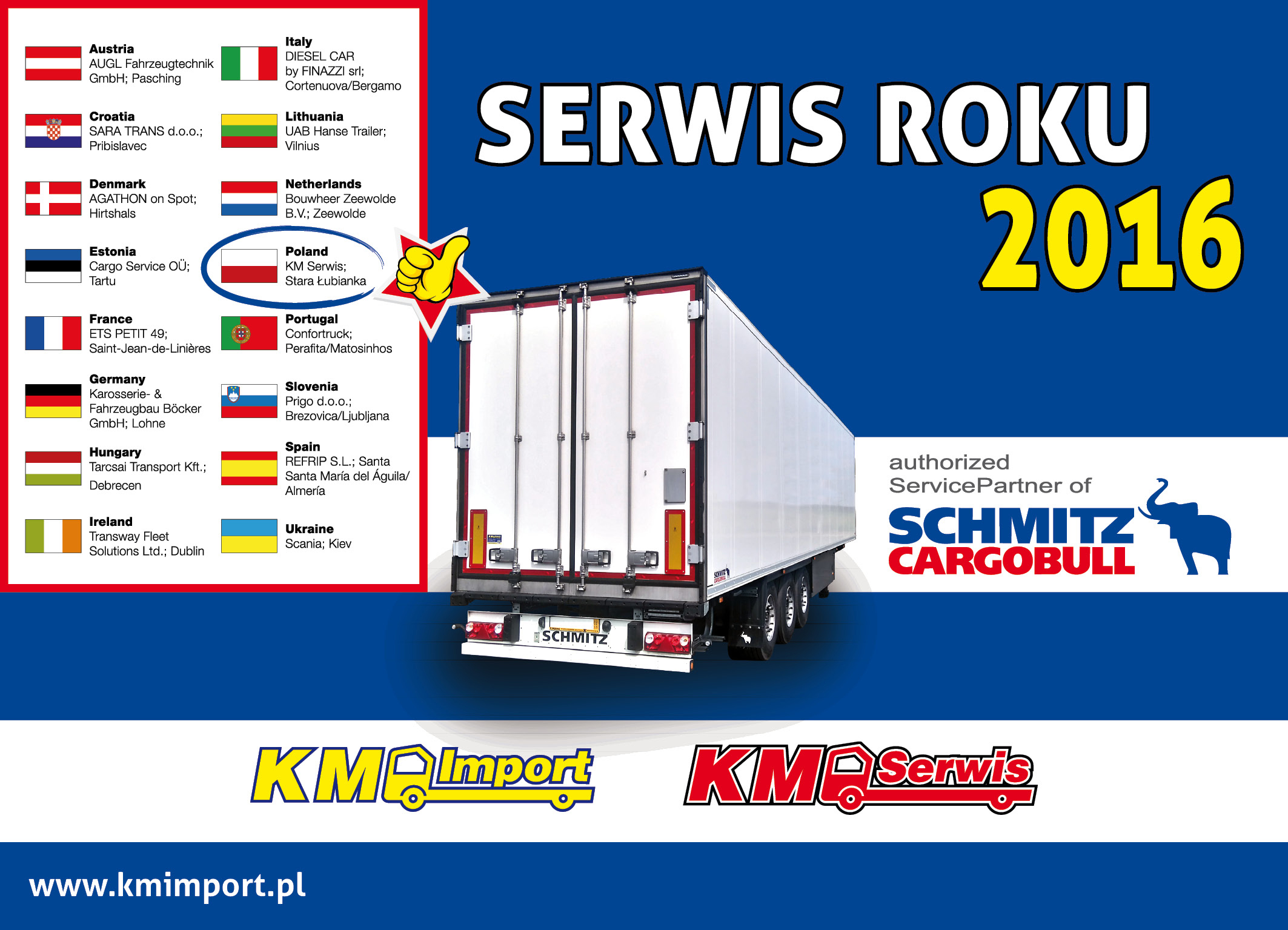 KM SERWIS serwisem roku 2016 Schmitz Cargobull - KM Import